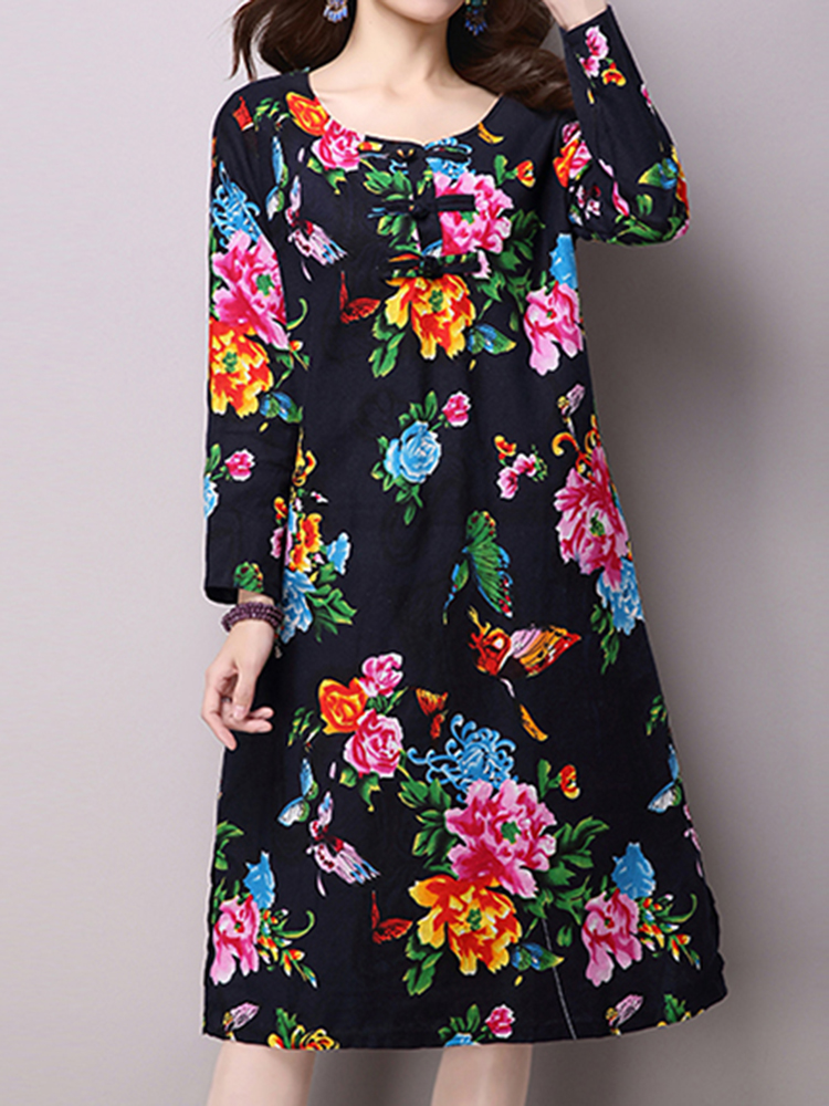 Vintage Women Chinese Frog Flower Print Side Split Midi Dress