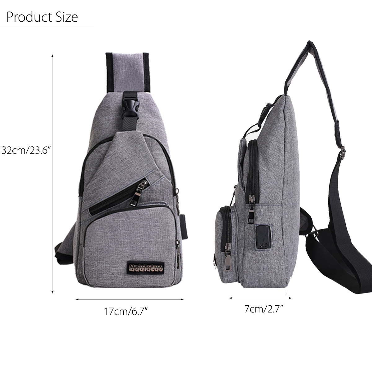 Men USB Charging Shoulder Chest Bag Sling Backpack Waterproof Sports Travel Pouch