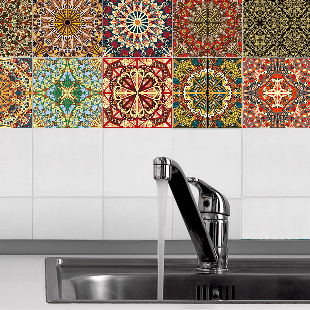 10PCS Arab Style Tile Paste Kitchen Background Wall Sticker Wallpaper Bathroom Wall Sticker