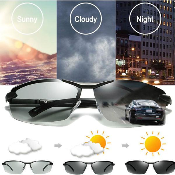 UV400 Polarized Photochromic Sunglasses Men's Driving Transition Lens Grey Black