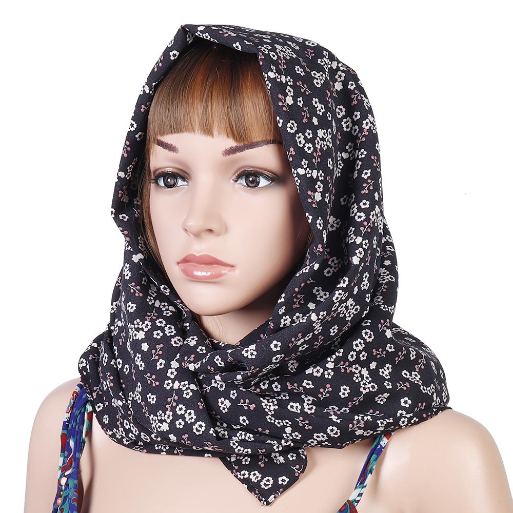 Women Muslim Yarn Printting Headscarf Scarf Turban Caps