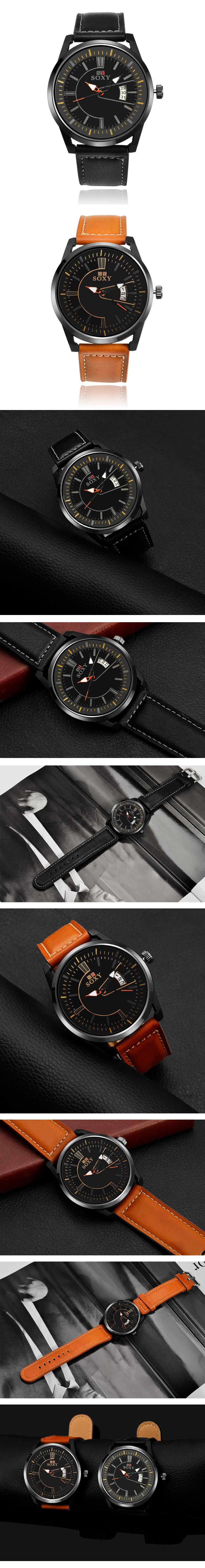 SOXY 0100 Ultra Thin Fashion Leather Strap Men Quartz Watch
