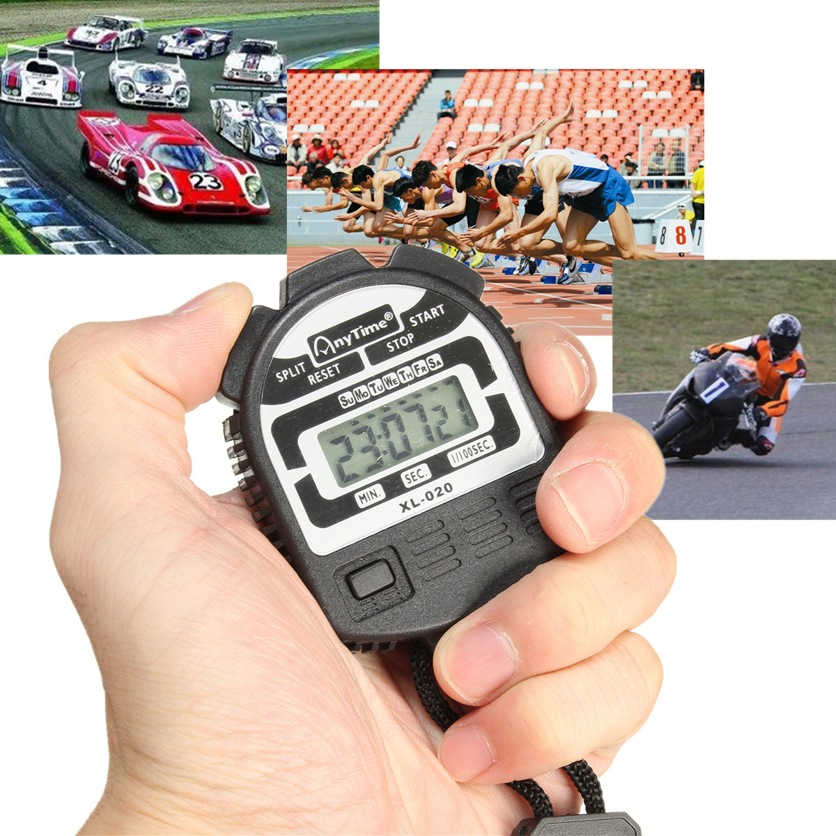 Sports Digital Stopwatch Handheld Stop Watch Clock Alarm Counter Running Timer