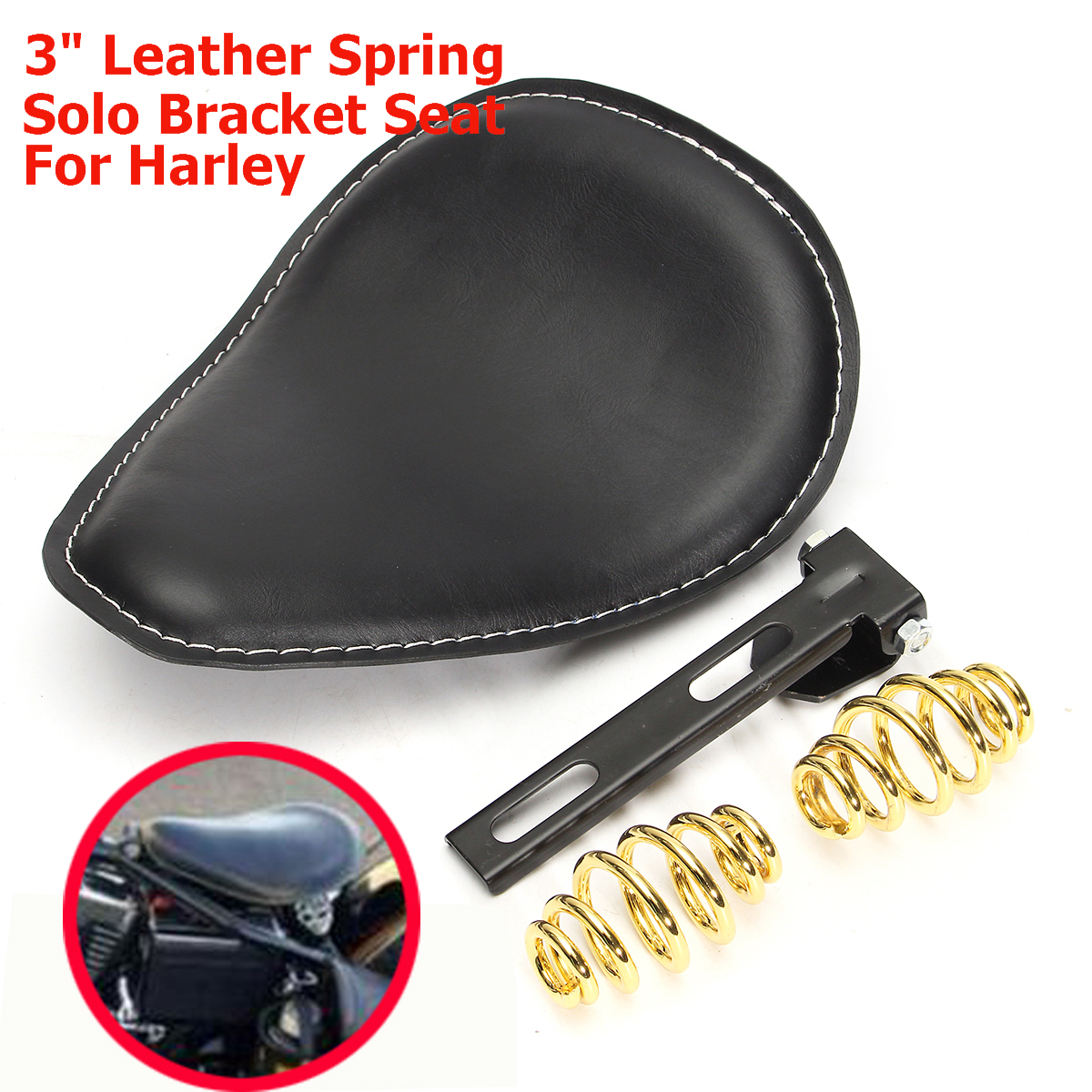 Motorcycle 3inch Leather Spring Solo Bracket Seat For Harley Chopper Bobber Custom