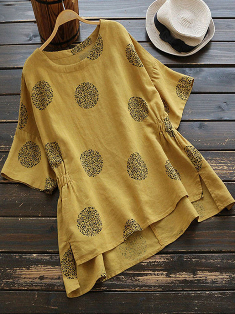 Casual Women Loose Printed Polka Dot Irregular Hem Blouse