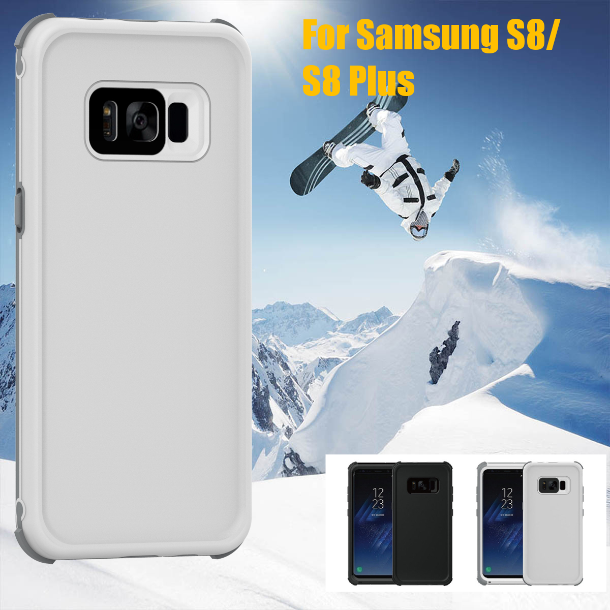 2 In 1 Waterproof Snowproof Dustproof Shockproof PC PET TPU Case for Samsung Galaxy S8 5.8''
