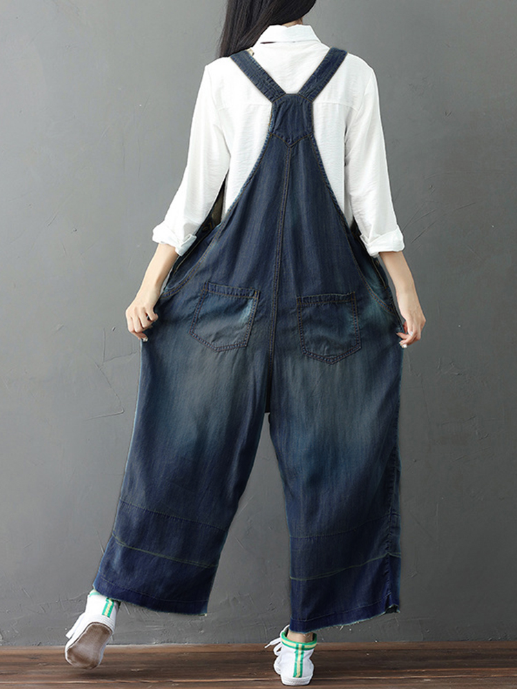 Vintage Women Embroidery Denim Jumpsuits