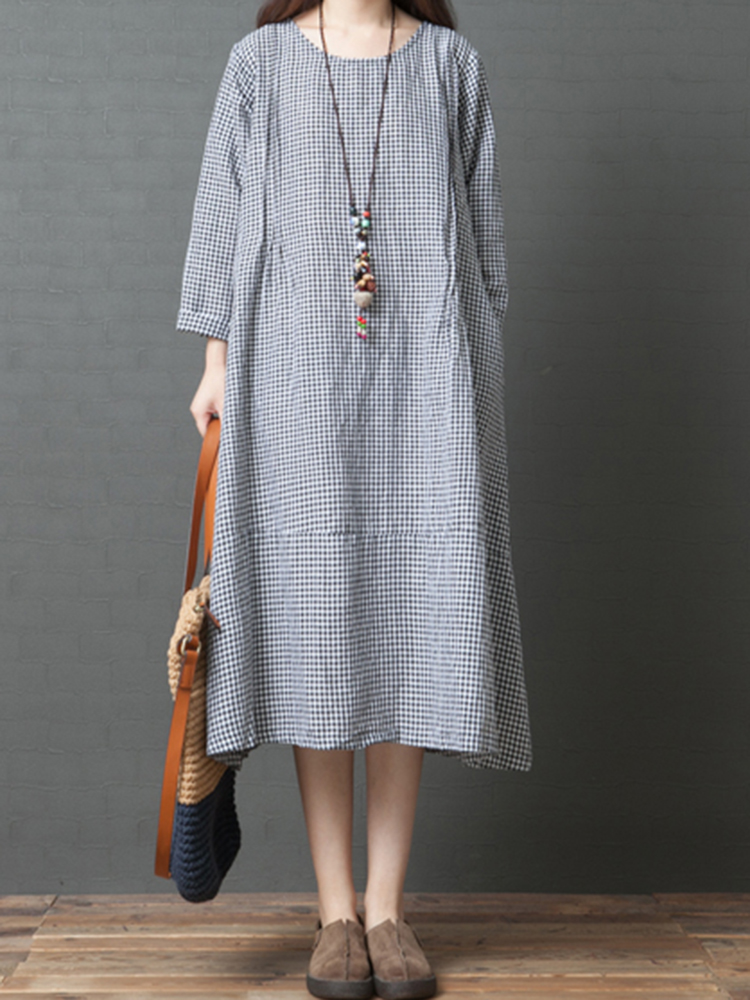 Women Casual Long Sleeve Plaid Mid-long Dress with Pockets