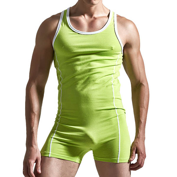Mens Contrast Color Home Fashion Vest Sexy Casual Cotton Jumpsuits Sleepwear