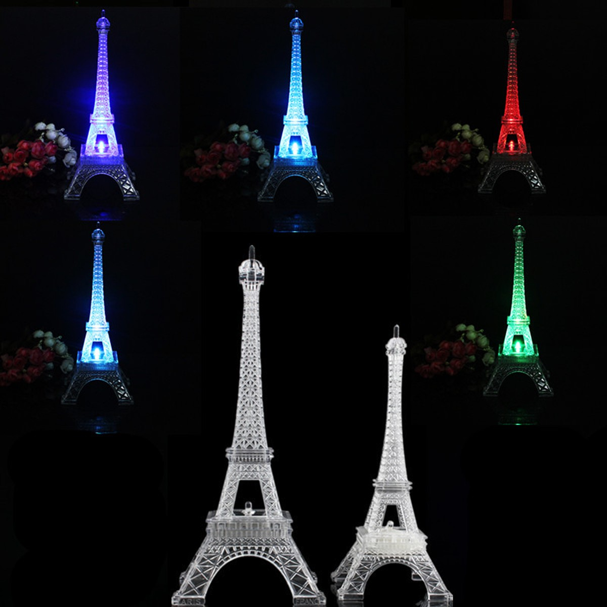 mini color changing eiffel tower night light led table ...