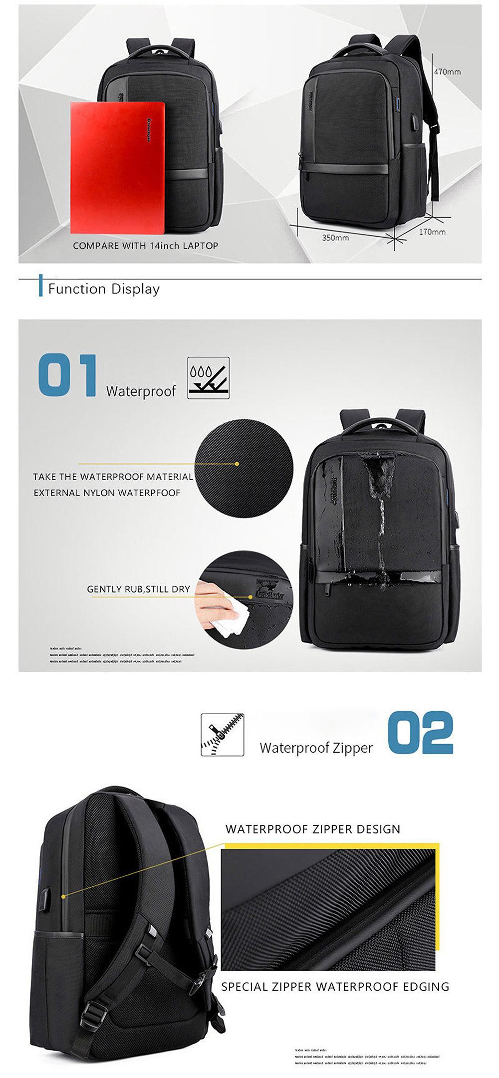 18 Inch Laptop Bag Mens USB Charging Waterproof Backpacks Multifunction Travel Bagpack Men's Shoulder Bag School Bag B00120