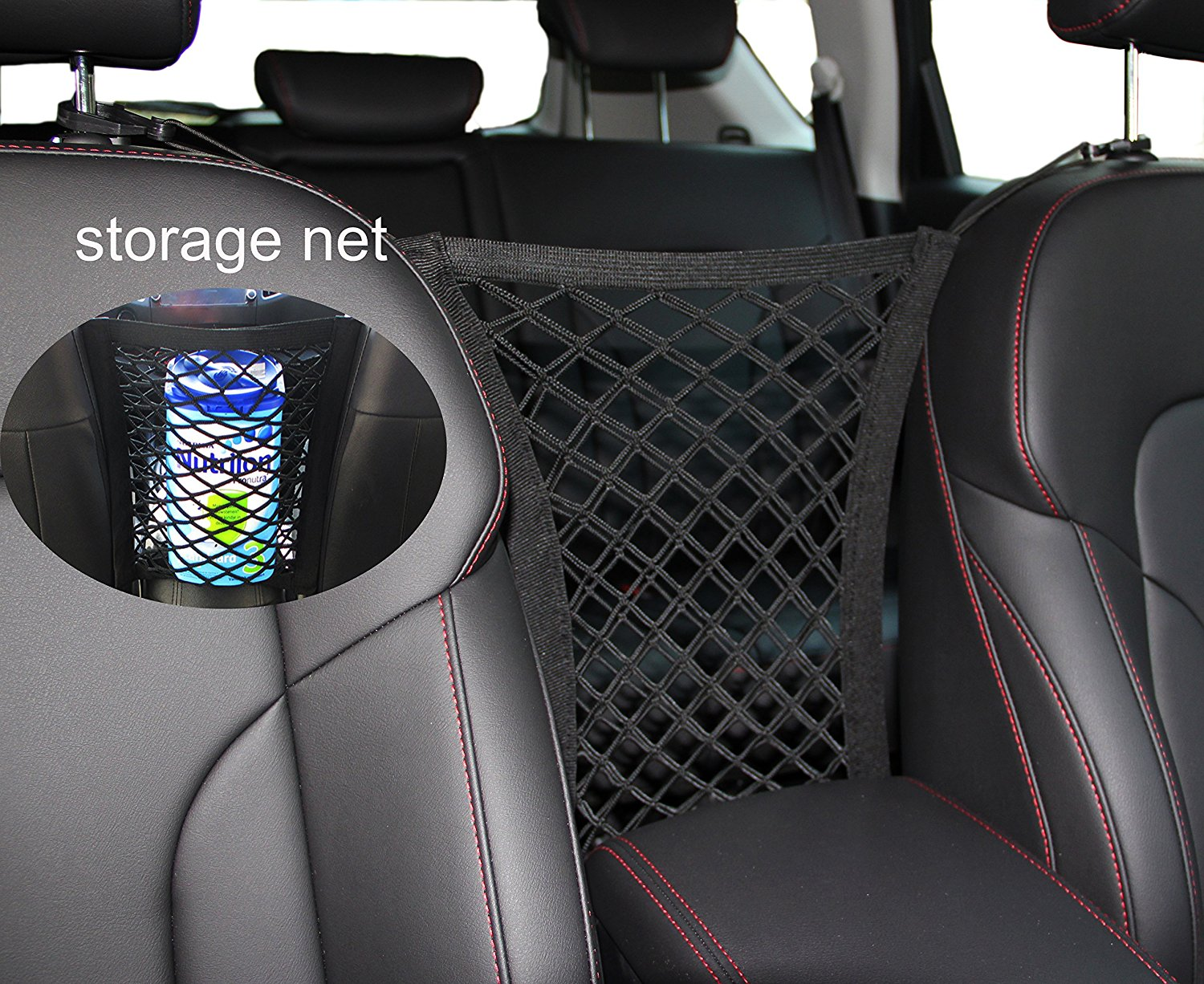 Dog Barrier with Storage Net for Back Seat Stretchable Seat Pet Barrier Car Pet Isolation Network