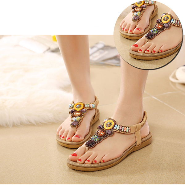 US Size 5-11 Women Summer Bohemian Outdoor Fashion Soft Comfortable Beach Flat Sandals Shoes