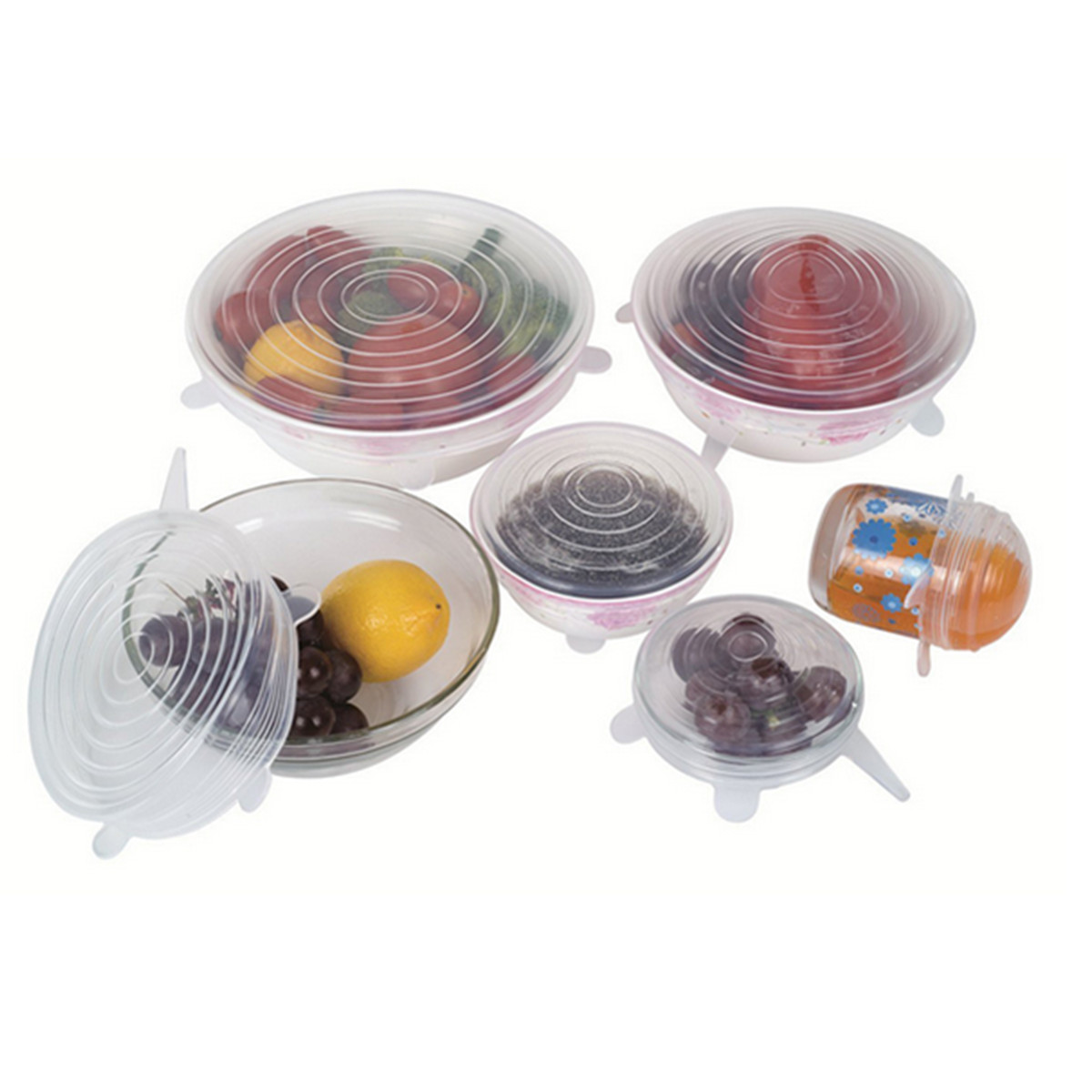 8PCS/SET Silicone Lids For Bowls Cups Food Preservation Reusable Cover Saver Stretch Lid Wrap