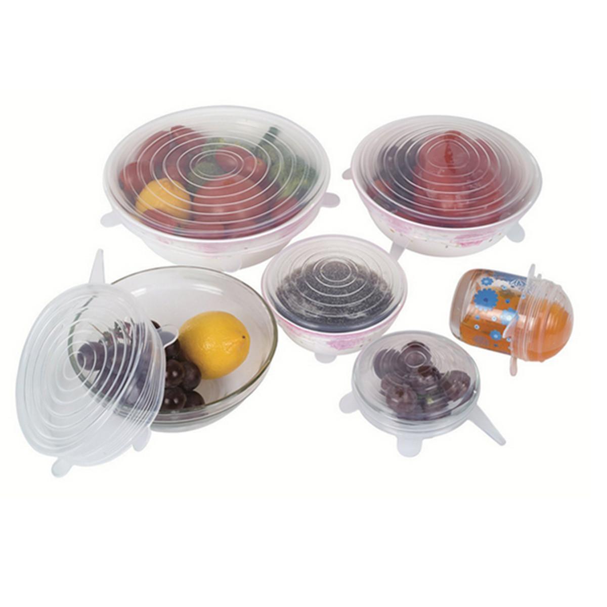 8PCS/SET Silicone Lids For Bowls Cups Food Preservation Reusable Cover Saver Stretch Lid Wrap