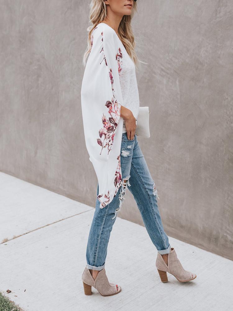 Bohemian Floral Print Long Sleeve Chiffon Outwear Cardigans