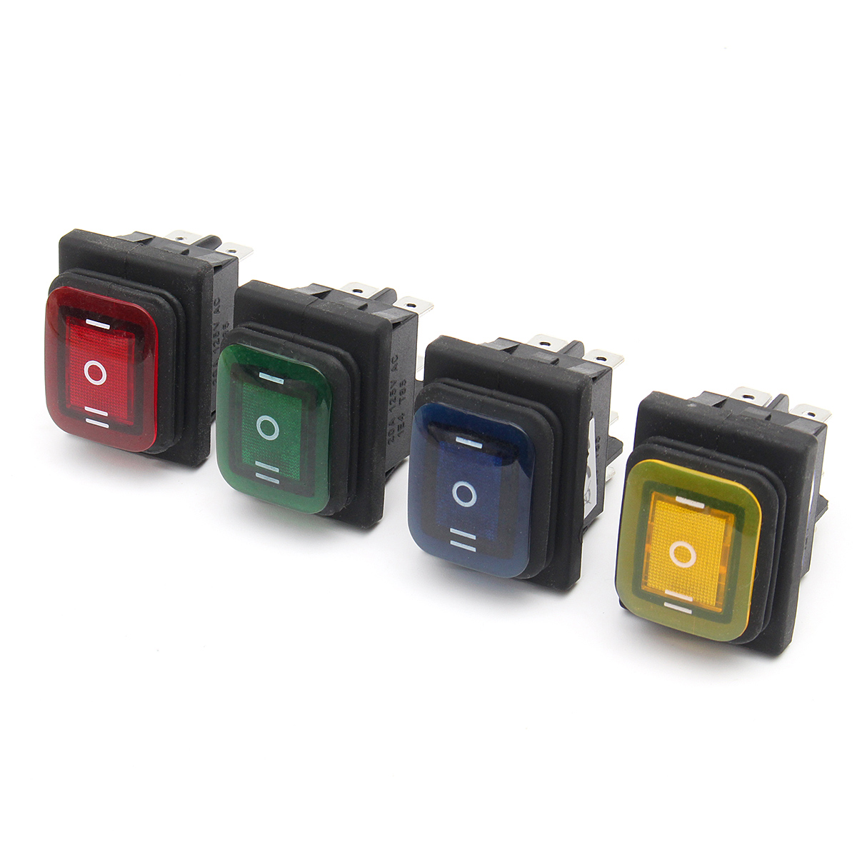 12V 16A 6Pin Waterproof Rocker Switch With Lamp Light Momentary