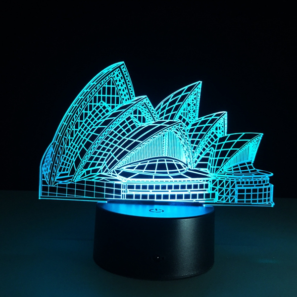 Sydney Opera House 3D Night Light 7 Color LED Touch Switch Table Lamp Xmas Gift Decor
