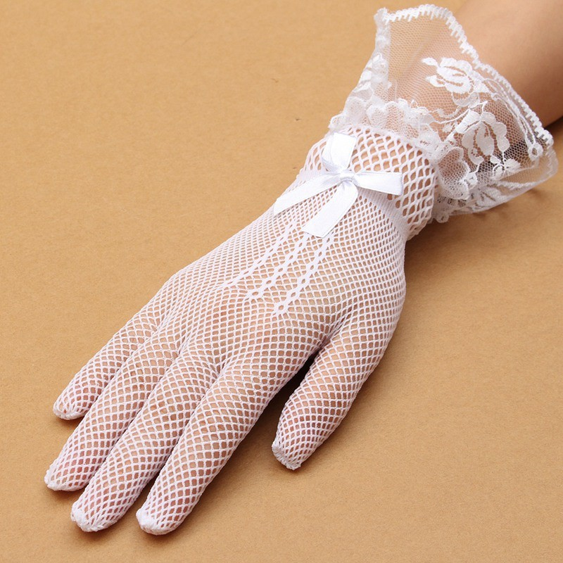Women Ladies Sexy Finger Lace Mesh Transparent Wedding Bridal Cocktail Evening Prom Short Gloves
