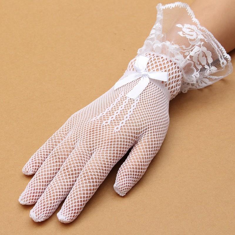 Women Ladies Sexy Finger Lace Mesh Transparent Wedding Bridal Cocktail Evening Prom Short Gloves