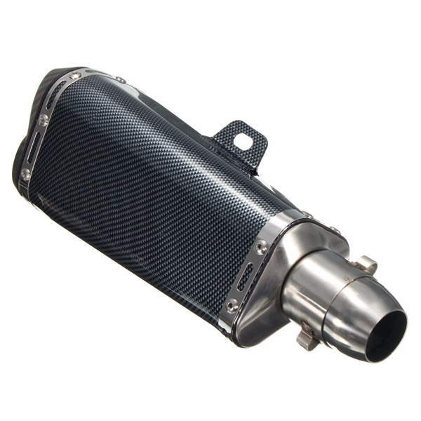 51mm Double Outlet Exhaust Muffler Pipe Carbon Stainless Steel Motorcycle Street Bike