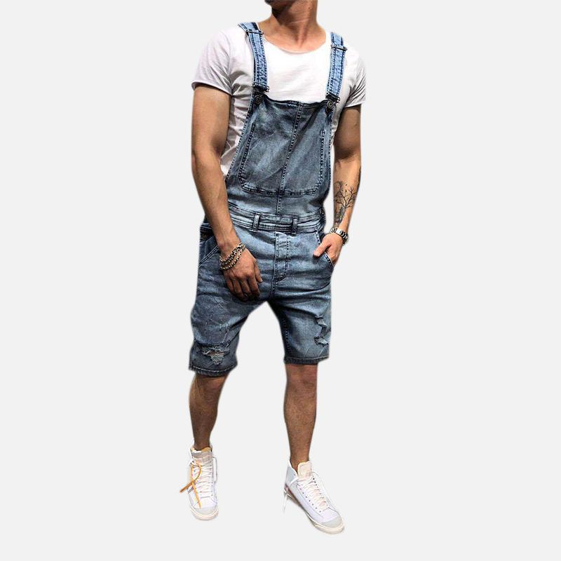 Men Slim Fit Denim Short Casual Jumpsuit