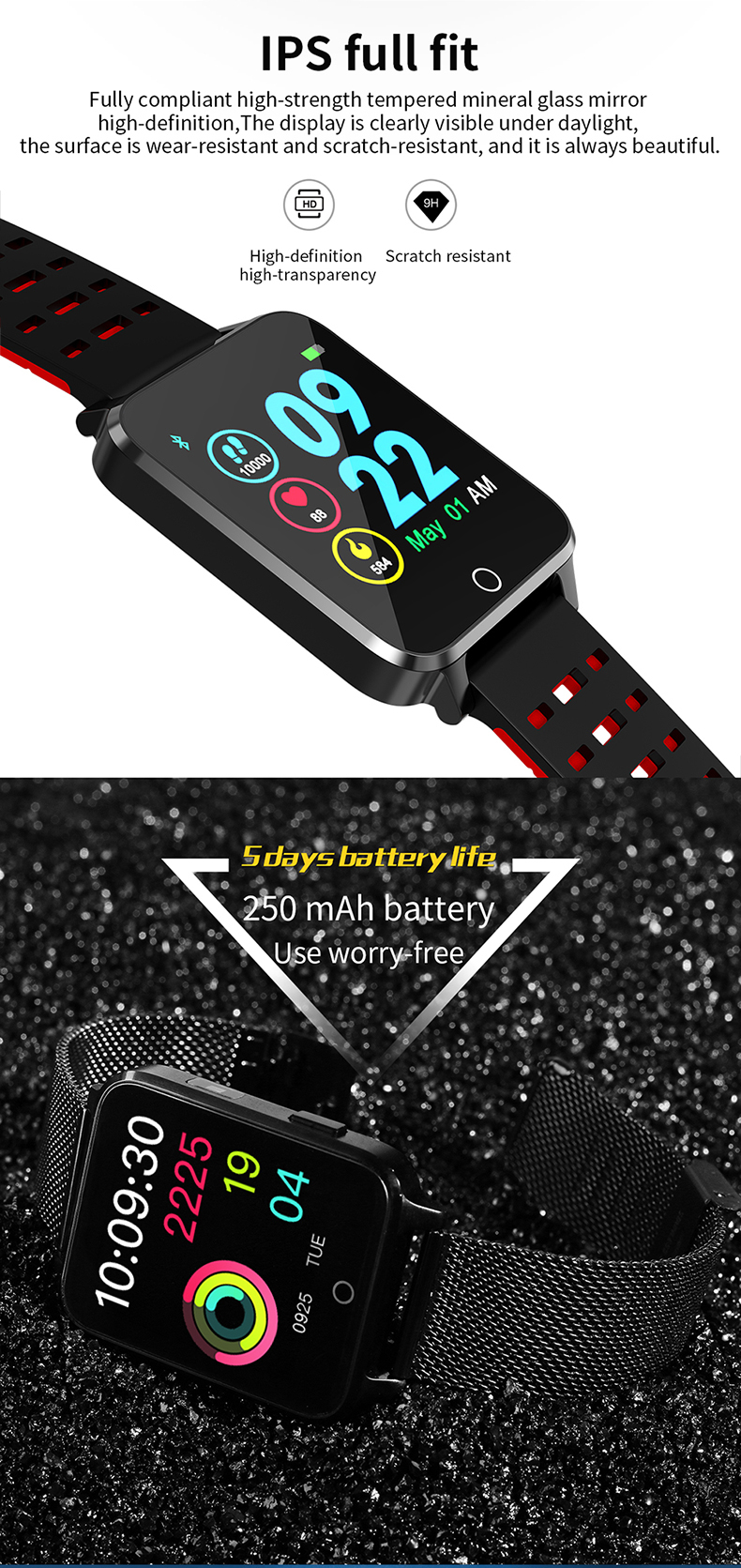 XANES X9 1.54'' TFT IPS Color Touch Screen IP68 Waterproof Smart Watch Multiple Watch Dials Heart Rate Monitor LED Lighting Fitness Smart Bracelet