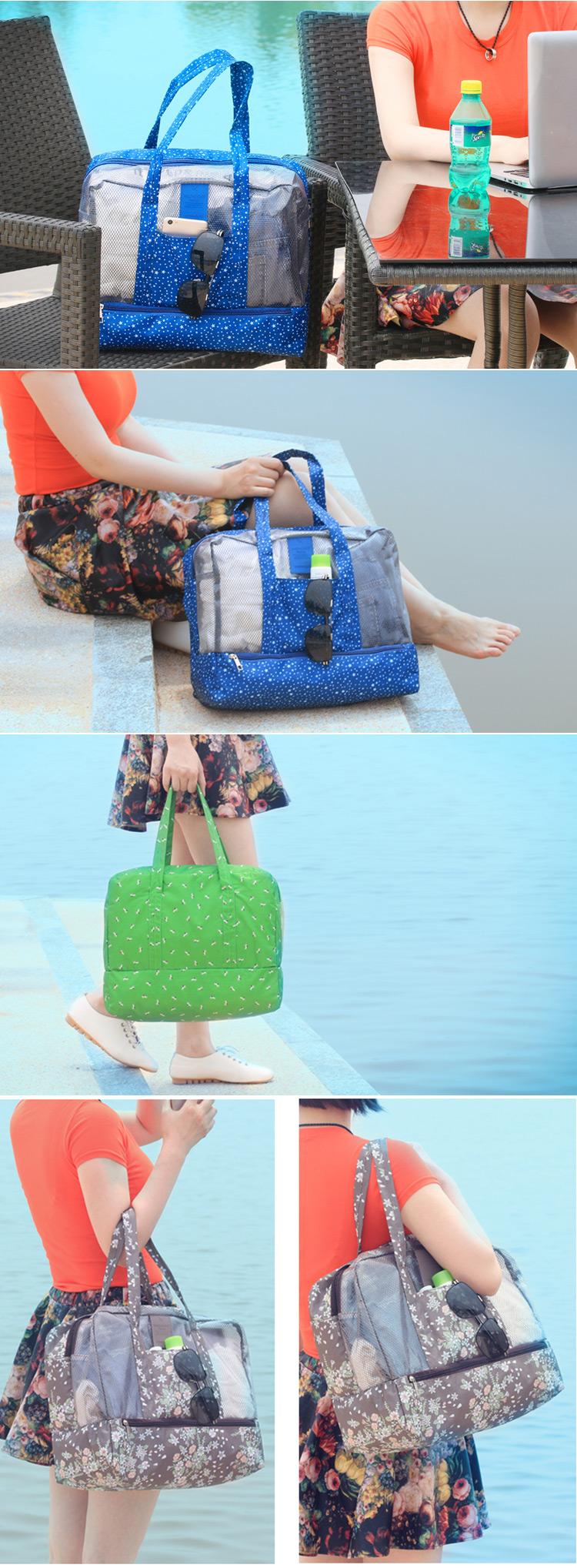 Honana HN-TB06 Dry Wet Depart Bag Travel Waterproof Swimming Bag Beach Organizer Tote Storage Bag
