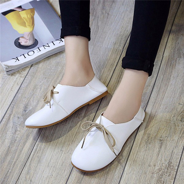 Casual Round Toe Lace Up Casual Flat Loafers