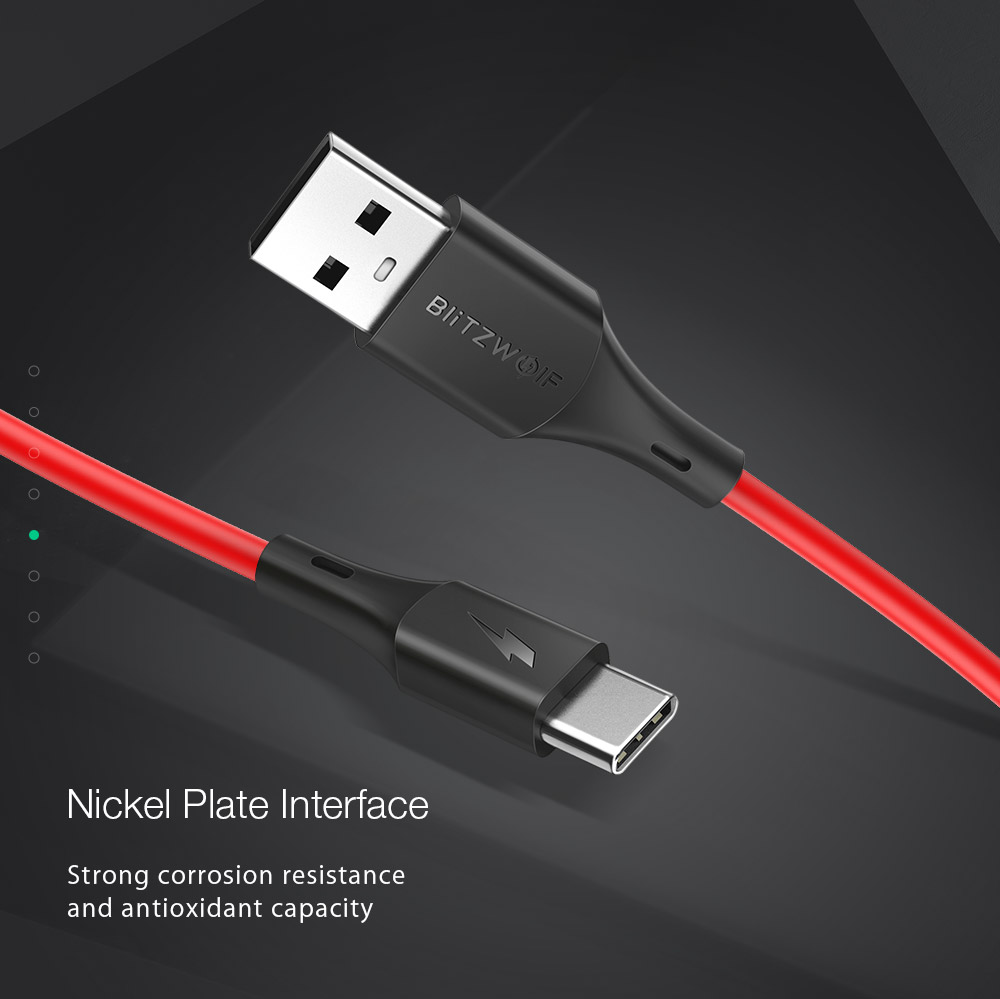 BlitzWolf® BW-TC15 3A USB Type-C Charging Data Cable 6ft/1.8m For Oneplus 6 Xiaomi Mi8 Mix 2s S9+