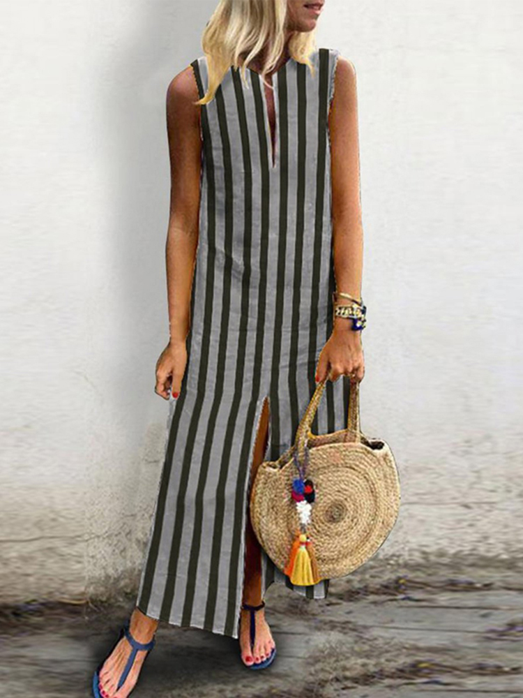 Vintage Women Retro Striped Split Hem Sleeveless Dress