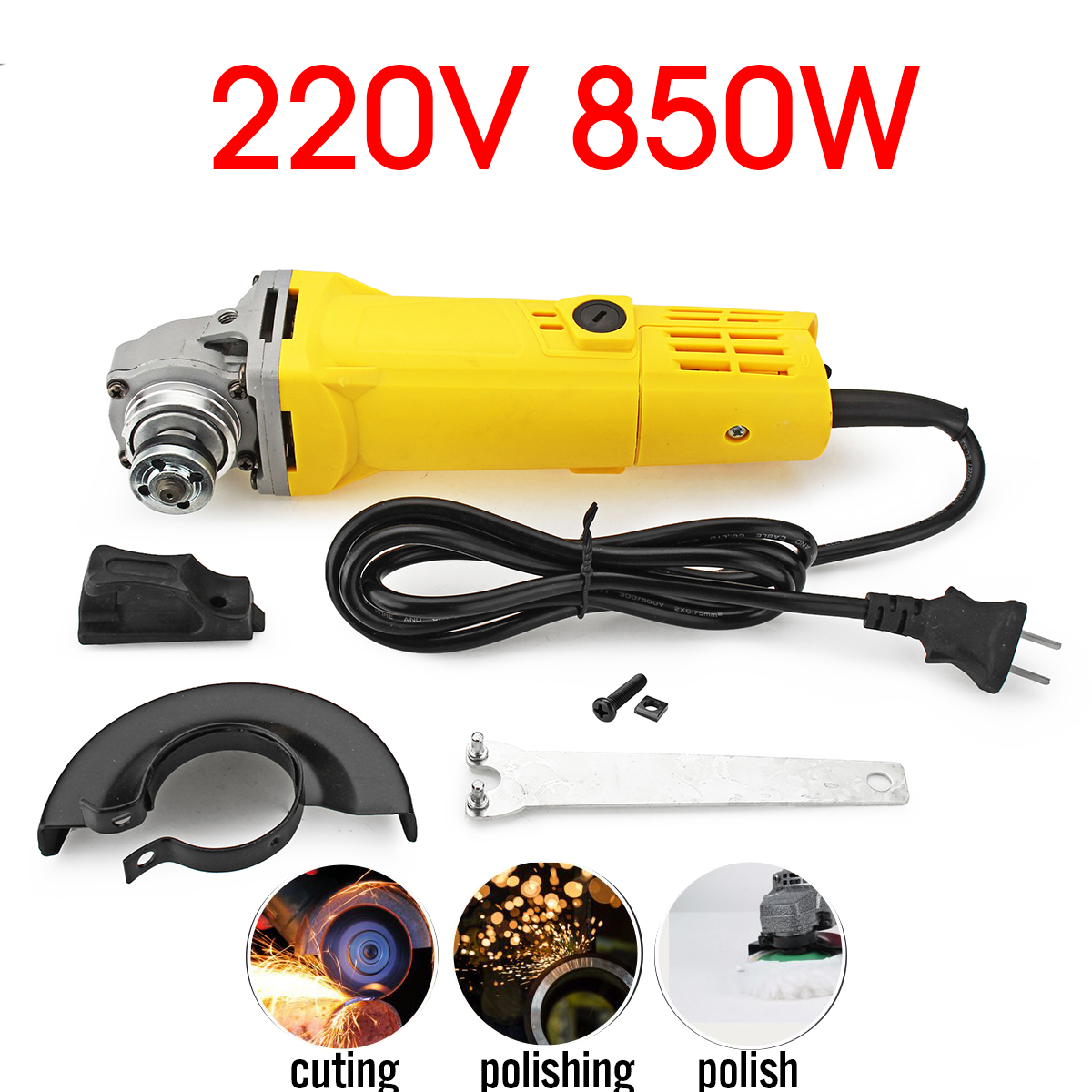 100mm 850W 220V Portable Electric Angle Grinder Muti-Function Household  Polish Machine Grinding Cutt