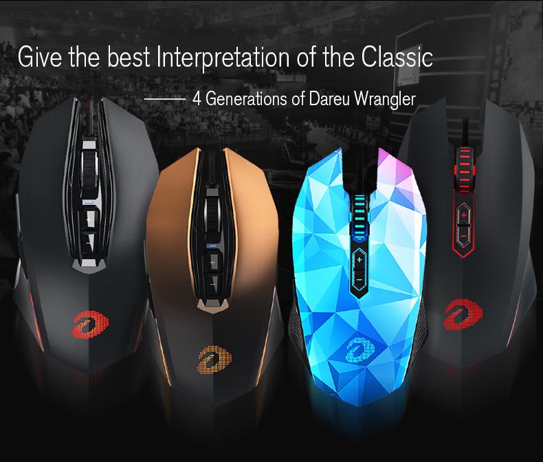 Dareu EM925 8000DPI 7 Buttons Gaming Mouse LED Ergonomic Professional Mice For PC Laptop Desktop