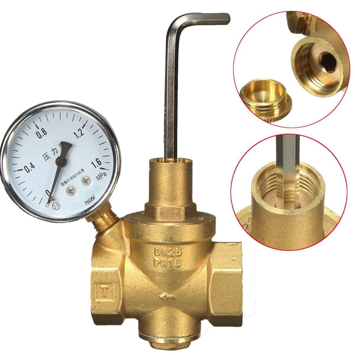 DN25 Brass Water Pressure Reducing Valve+Gauge Pressure Gauge Water Flow
