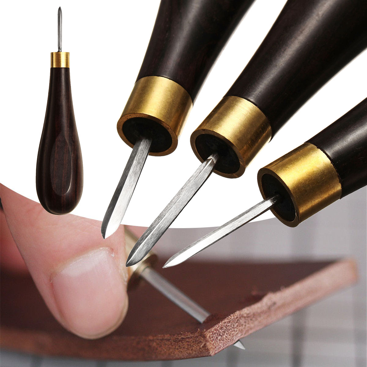 WUTA Leather Craft Tool Diamond Stitching Awl Ebony Blackwood Handle Leather Craft Sewing Awl Kit