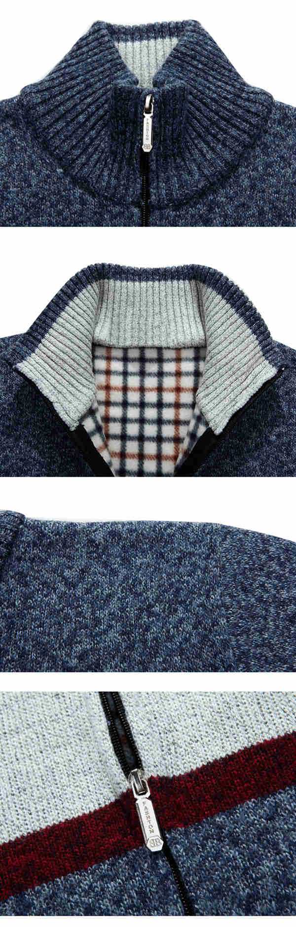 Contrast Color Knitted Thick Fleece Zipper Sweaters Casual Woolen Blended Slim Cut Coat