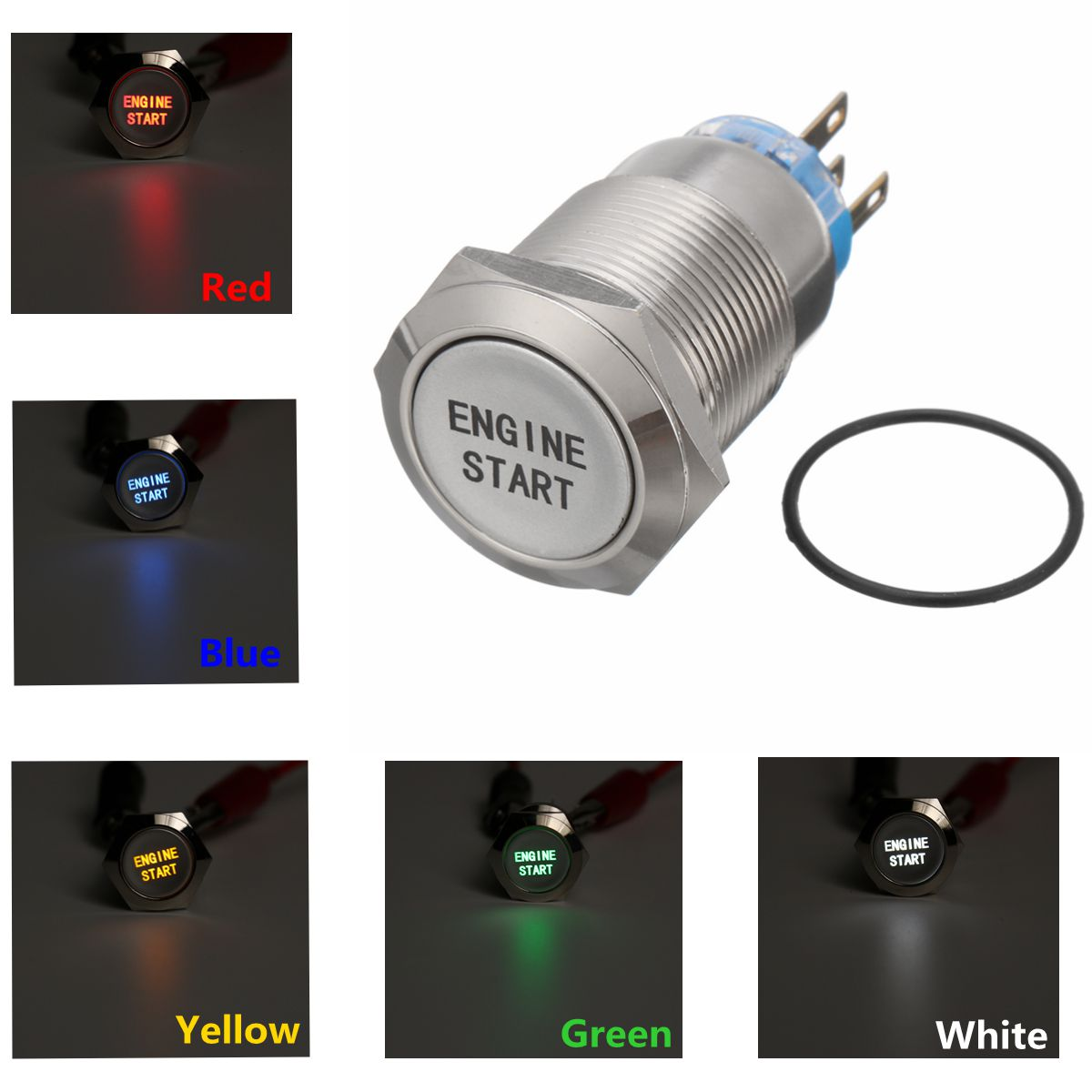12V 19MM Waterproof Car AUTO Metal Momentary Engine Start Push Button Switch LED