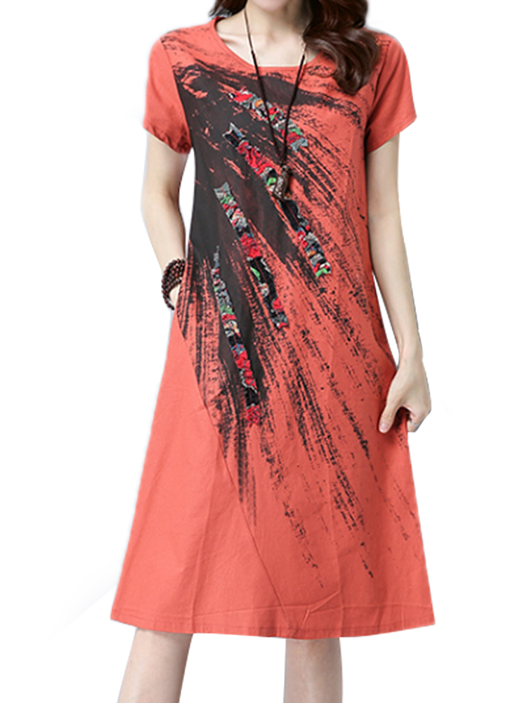 Casual Women Short Sleeve Printed Stitching Slim Dresses