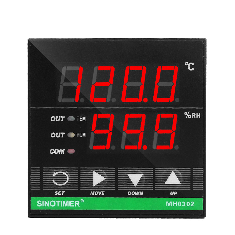 MH0302 72x72mm 2 in 1 Digital Temperature Humidity Controller Relay Output for Incubator Heat Cool Humidification and Dehumidify with Digital Humidity Sensor and 3M Cable