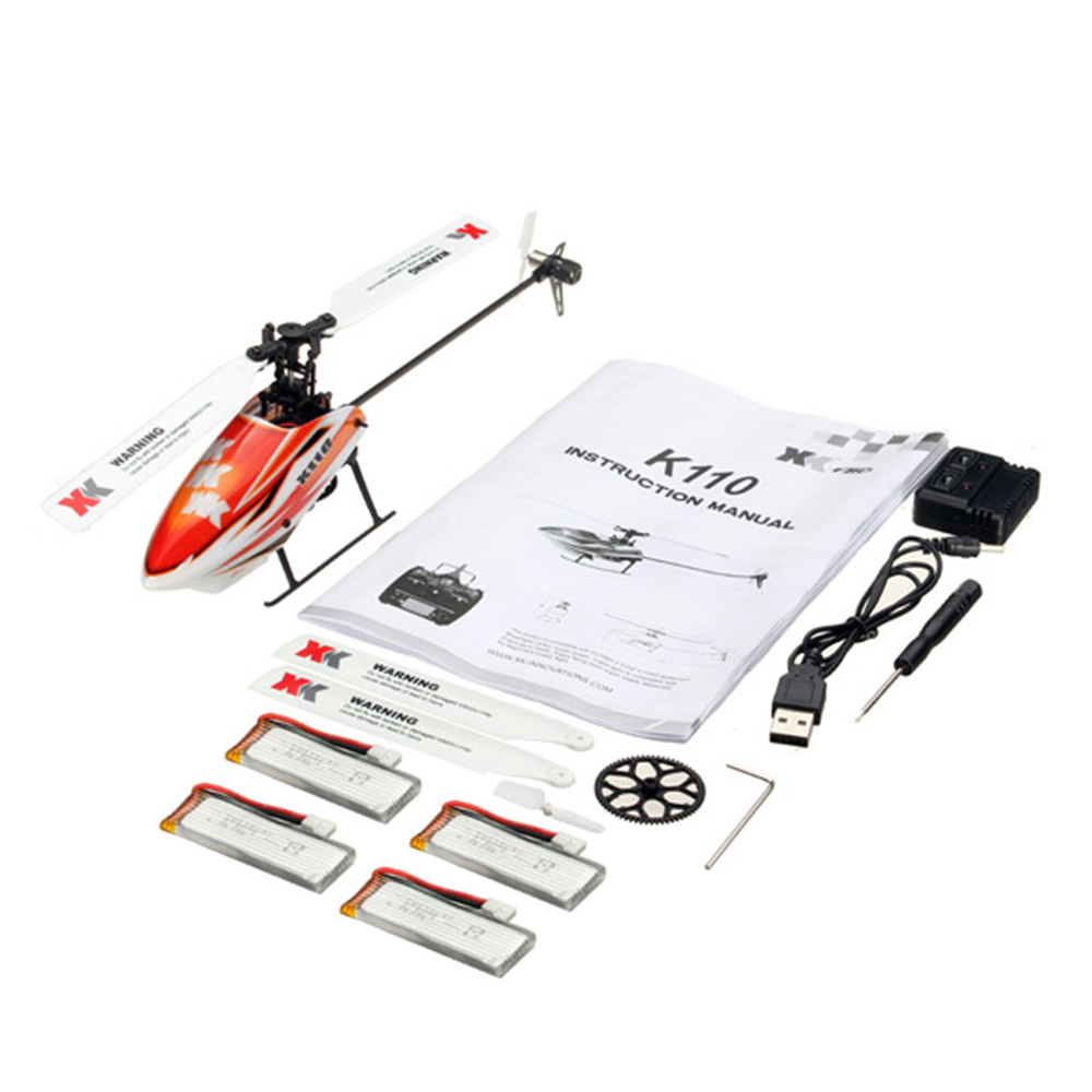 XK K110 Blast 6CH Brushless 3D6G System RC Helicopter BNF With 4 Pcs Battery - Photo: 10