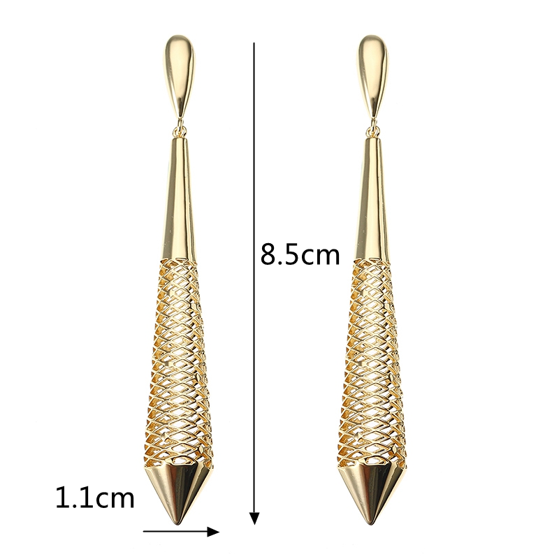 JASSY® Statement Hollow Conical Drop Earrings Luxury 24K Gold Plated Fashion Ear Drop Women Jewelry