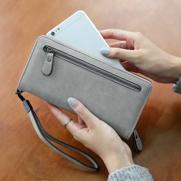 Women Zipper Long Wallet Retro Card Holder Clutches Bags Coin Bags 5.5'' Phone Purse For Iphone 7P