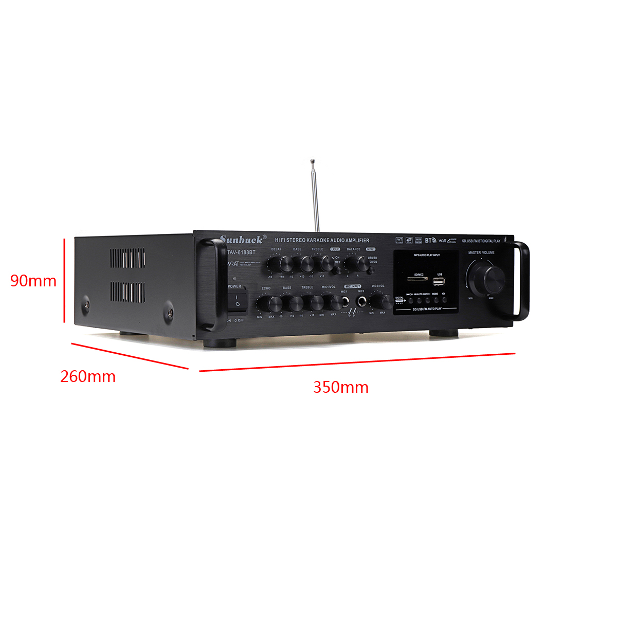 12V 220V High-power bluetooth LCD Display Audio Stereo Power Amplifier Home Car Amplifier