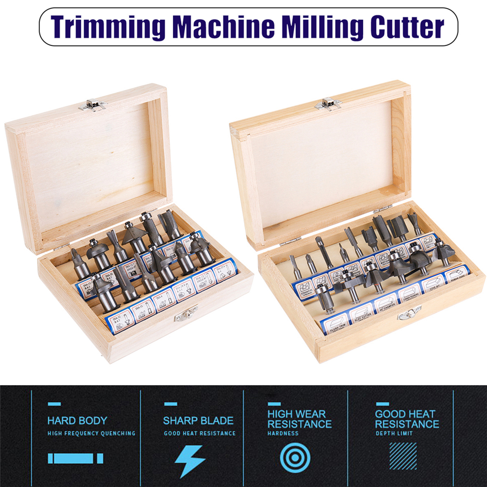 12/15pcs Silver Router Bit Set Tungsten Carbide Woodworking Cutter Rotary Tool