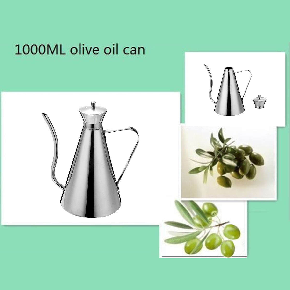 1000ML Oil Pot Stainless Steel Sauce Vinegar Olive Jug Bottle Kitchen Storage Container Oil Bottles