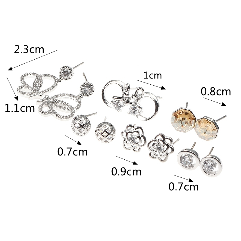 JASSY® 6 Pairs Fine Earrings Luxury Shiny Flower Butterfly Bowknot Zircon Crystal Ear Stud for Women