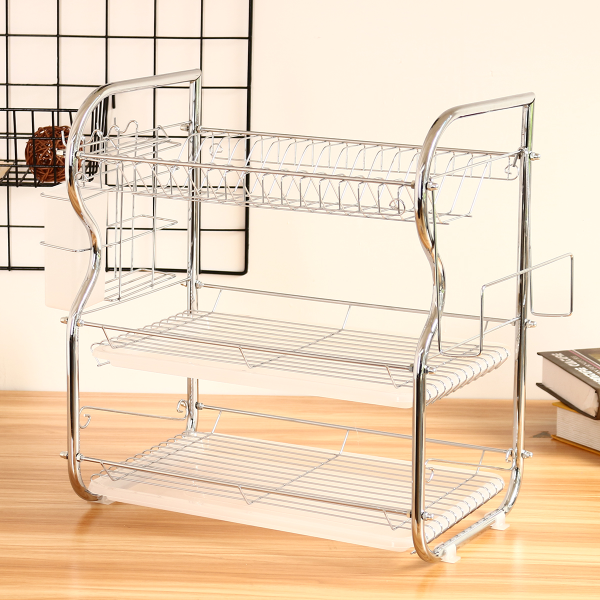 3 Layer Chrome Dish Cup Drainer Drying Rack Cutlery Tray Utensil Kitchen Knife Cutting Board Holder