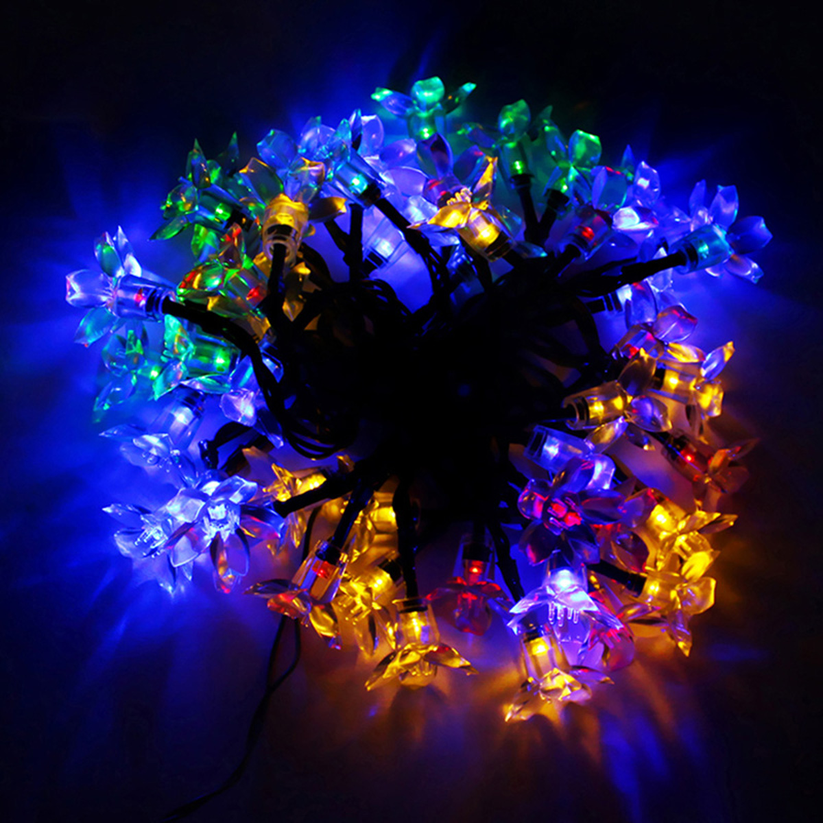 50Pcs LED Flower String Fairy Home Deocr Lights Solar Power Outdoor Waterproof Garden Party Lamps