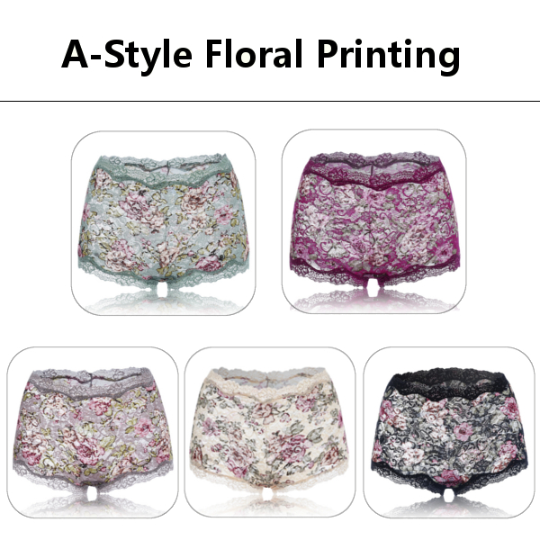 Women Sexy Floral Printing Lace Panties Seamless Push Up High Waist Panty