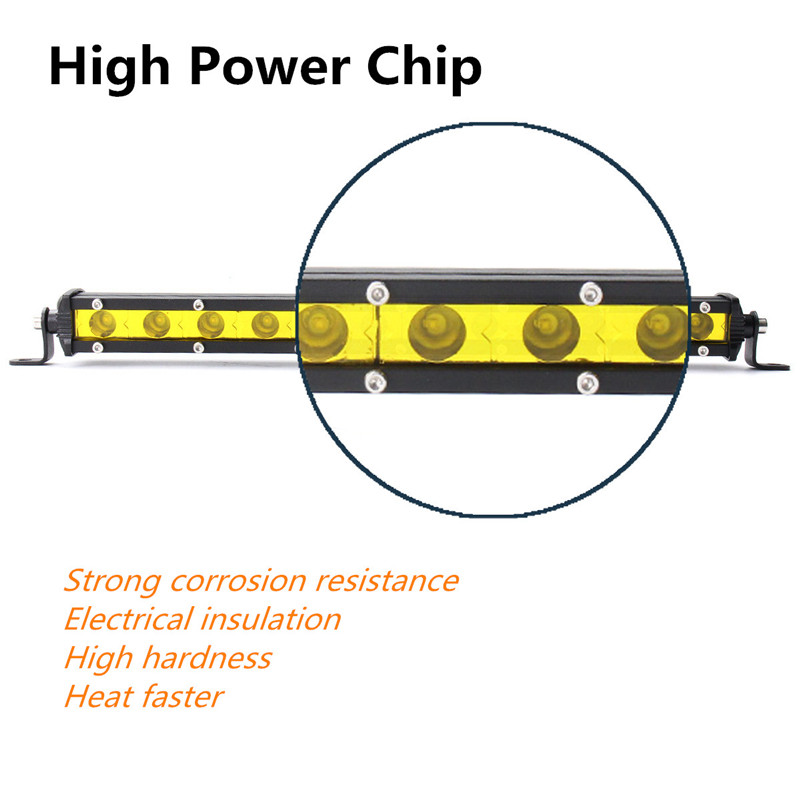 12.6Inch 36W LED Work Light Bar Waterproof Spotlight Yellow DC12-24V for Off Road SUV Truck